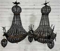 Sale 9154 - Lot 1061 - Pair of large beaded chandelier with brass stag head mounts - 138 (h90cm)