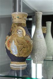 Sale 8327 - Lot 42 - Japanese Satsuma Vase & a Crackle Glazed Chinese Vase