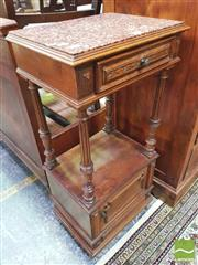 Sale 8428 - Lot 1049 - Early 20th Century French Walnut Bedside Cabinet, with marble top, a drawer, slender columns & panel door