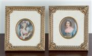 Sale 8435A - Lot 55 - A pair of hand painted portrait miniatures in oval gilt frames set in sectional ivoreen and pierced brass ornate frames, each frame...