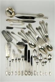 Sale 8444A - Lot 2 - An impressive H Meyen & Co. 800 German Silver antique cutlery service for 18 persons. Total 253 pieces