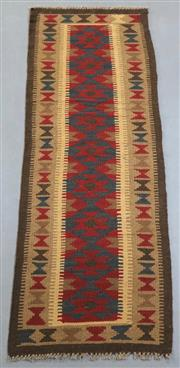 Sale 8445K - Lot 69 - Maimana Afghan Kilim Runner , 200x60cm, Handwoven in Northern Afghanistan using durable local wool. Traditional and reversible slit...
