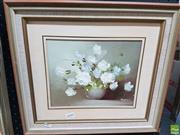 Sale 8563T - Lot 2090 - Artist Unknown Floral Still Life Framed Oil on Board, SLR