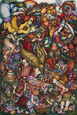 Sale 9096 - Lot 572 - Juli Haas (1952 - 2013) Wheel of Fortune , 2005 watercolour 151 x 102.5 cm (frame: 168 x 119 x 4 cm) unsigned; Flinders Lane gallery...