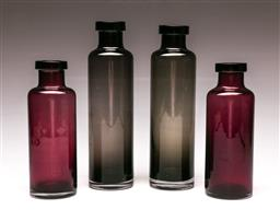 Sale 9110 - Lot 81 - A group of Scandinavian Bo Borgstrom Aseda style glass bottle vases, (H:27cm)