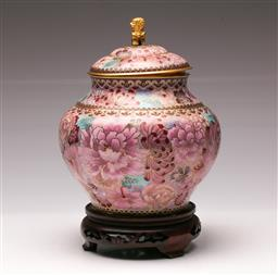 Sale 9122 - Lot 70 - Cloisonne Pink Ground Lidded Vase on Stand Featuring Chrysanthemums (H: 26cm)