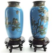 Sale 8292 - Lot 75 - Cloisonne Pair of Vases on Stands
