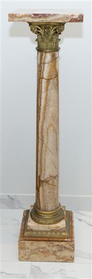 Sale 8338A - Lot 34 - A pair of marble pedestals with gilt metal corinthian mounts, H 114cm