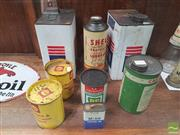 Sale 8435 - Lot 1012 - Collection of Seven Vintage Oil Cans incl. Ampol & Amico