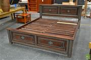 Sale 8495F - Lot 1095 - Hardwood King Size Bed with Metal Decals
