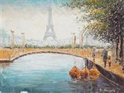 Sale 9009A - Lot 5062 - After W. Bernett - Eiffel Tower 28 x 39 cm (frame: 45 x 55 x 4 cm)