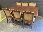Sale 9051 - Lot 1092 - Oak 7 Piece Dining Suite (h:77 x w:153 99cm)