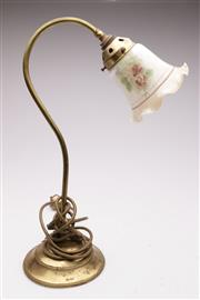 Sale 9052 - Lot 101 - A Brass Lamp with a Victorian Inside Painted Tulip Shade Depicting Flowers (H:45cm)