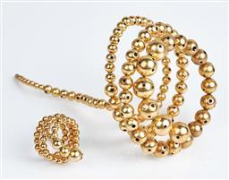 Sale 9091F - Lot 85 - A PAULA MENDOZA ELEGANT GOLD BRACELET WITH MATCHING RING, Nereus design bracelet by NYC jewellery designer.