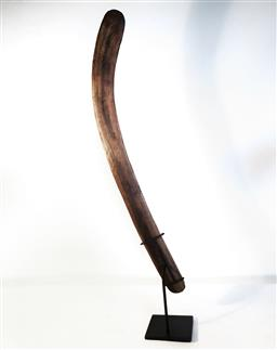 Sale 9142A - Lot 5083 - Western Australian Aboriginal Killer style Boomerang c.1970, Stonecut, h.68cm (stand not included) -