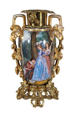 Sale 9245J - Lot 80 - A French 19th century porcelain vase, with fine hand painted decoration and ormolu mounts, H 51cm x W 32cm.