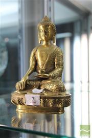 Sale 8285 - Lot 7 - Bronze Gilded Buddha Figure