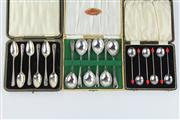 Sale 8391 - Lot 58 - English Hallmarked Sterling Silver Set Of 6 Teaspoons with 2 Cased Silver Plate Spoon Sets