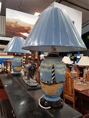 Sale 8697 - Lot 1061 - Pair of Belgian Table Lamps with Lighthouse Motifs