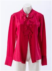 Sale 8910F - Lot 72 - A Herringbone red satin blouse, size 10