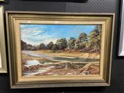 Sale 8914 - Lot 2094 - Margaret Loader -River Scene, oil on board, 61 x 84 cm, signed lower right