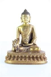 Sale 8972 - Lot 51 - Gilded Cast Metal Buddha In The MedicinePosition H:21cm