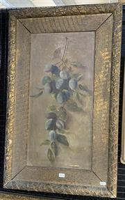 Sale 9011 - Lot 2038 - A.G Ward (Early C20th) Plums, oil on canvas, frame: 81 x 50 cm, signed lower right -