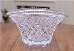 Sale 9190H - Lot 74 - A good English Stuart hand cut lead crystal deep bowl, C: 1930s, the circular base rising to a flaired oval boat shaped rim.