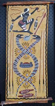 Sale 8587 - Lot 2065 - Arnold Thuganmu Watt (1941 - 2006) The Serpents Story, 1996, natural pigments on bark, 70 x 29cm, unsigned
