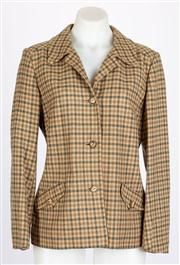 Sale 8640F - Lot 5 - A vintage Aquascutum, London 100% camel hair gingham jacket, size 10-12.
