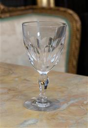 Sale 8746 - Lot 1098 - Seven Waterford Lismore Patterned stemmed faceted glasses H x 13.5cm,  some rim chips.