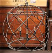 Sale 8871H - Lot 159 - A Globe or basket form black metal three branch chandelier, Height 65cm, diameter approx 70cm