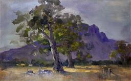 Sale 9143A - Lot 5017 - CAROLE MILTON (193 - ) - Grazing Under the Majestic Grampians, Dunkeld VIC 38 x 61 cm (frame: 65 x 87 x 3 cm)