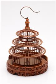 Sale 9057 - Lot 11 - Carved Chinese Camphorwood bird cage (H35cm)