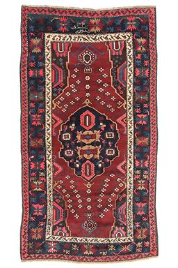 Sale 9124C - Lot 46 - Antique Caucasian Khojali Rug, C1920 130x235cm, Handspun Wool