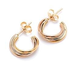 Sale 9246J - Lot 303 - A PAIR OF 18CT THREE TONE GOLD HOOP EARRINGS; 5.5mm wide twisted hoops in yellow, white and rose gold to stud fittings, length 15.3m...