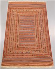 Sale 8445K - Lot 73 - Fine Maliki Tribal Kilim Rug , 286x177cm, Amongst the finest of all Afghan sumak kilim weaves. Featuring an intricate and heavily mo...