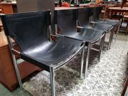 Sale 8476 - Lot 1074 - Set of Four Metal & Leather Chairs