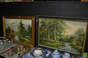 Sale 8487 - Lot 2088 - Artist Unknown (2 works) Landscape with River Scenes, acrylic on canvas, 76 x 106cm (frame size), each signed.