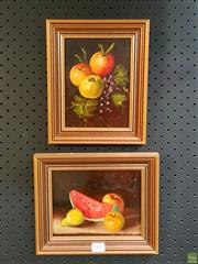 Sale 8582 - Lot 2116 - Pair Still Life Fruit, Oils, both signed