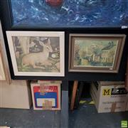 Sale 8636 - Lot 2016 - Pair of Framed Decorative Prints by Wilmotte Williams and Billie Waters