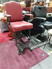 Sale 8680 - Lot 1028 - Reproduction Leather Upholstered Barber Chair with Studded Trim