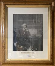 Sale 8678 - Lot 2038 - Antique maple frame, featuring an engraving of John Hunter, 74.5 x 61.5 (frame size)