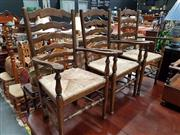 Sale 8697 - Lot 1065 - French Oak Ladder Back Carvers with Rush Seats x 3