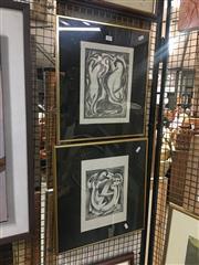 Sale 8751 - Lot 2100 - 2 Cubist Style Cat Prints