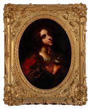 Sale 8804A - Lot 136 - Artist Unknown, C18th - Portrait of a Saint Holding an Urn 40cm x 30cm