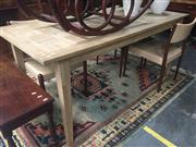 Sale 8822 - Lot 1818 - Recycled Oak Parquetry Top Dining Table (H: 76.5 L: 180 W: 85cm)