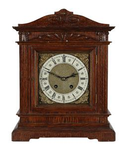 Sale 9245J - Lot 58 - A fine quality English 19th century oak bracket clock, with silvered and brass dial, H 38cm x W 30cm.
