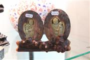 Sale 8308 - Lot 85 - Split Stone Carved Figures In Timber Stand