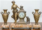 Sale 8338A - Lot 36 - A French clock garniture, the clock with a maiden and her dog, together with a pair of vases, French foundry mark, made in Paris, H...